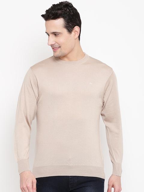 Monte Carlo Men Beige Woollen Solid Sweater
