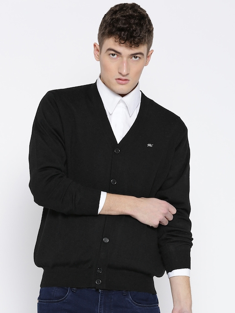 Monte Carlo Men Black Woollen Solid Cardigan