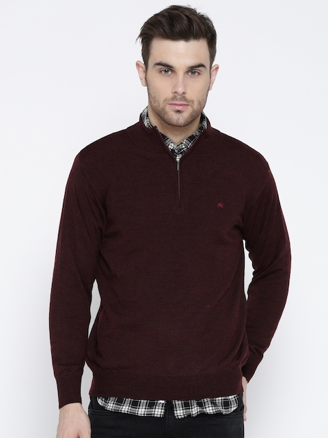 Monte Carlo Men Burgundy Woollen Solid Sweater