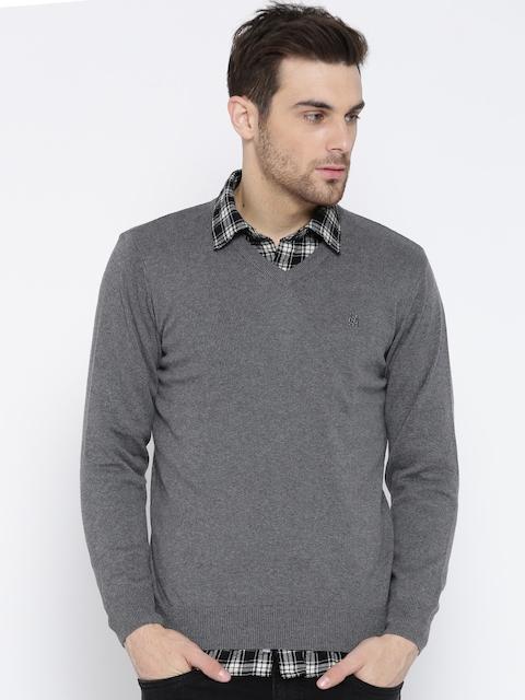 Monte Carlo Men Grey Melange Solid Sweater