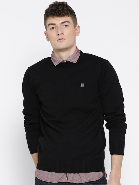 Monte Carlo Men Black Solid Sweater