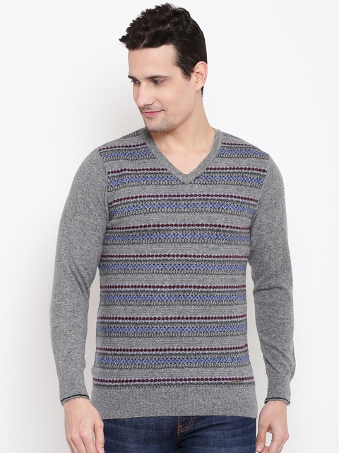 Monte Carlo Men Grey Melange Patterned Pullover