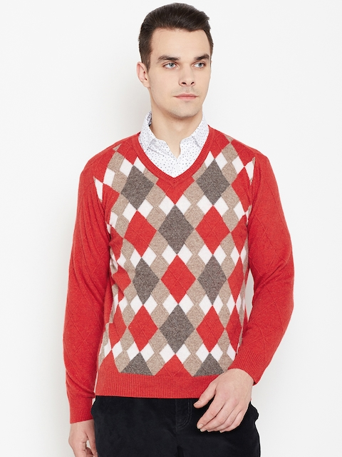 Monte Carlo Men Red & Beige Self Design Sweater