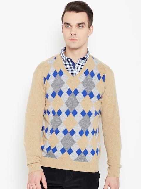 Monte Carlo Men Beige Argyle Pattern Woollen Sweater