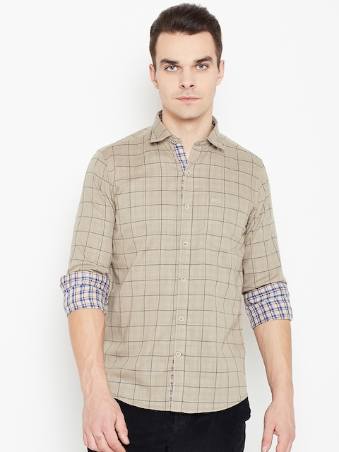 Monte Carlo Men Beige Checked Casual Shirt