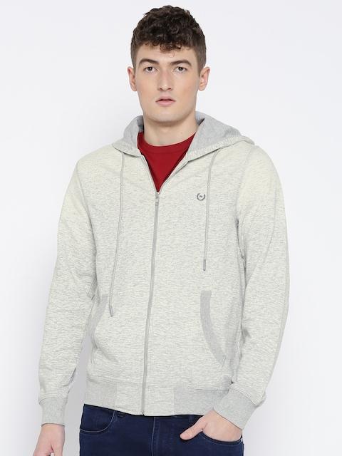 Monte Carlo Men Off-White & Grey Melange Solid Hooded Sweatshirt