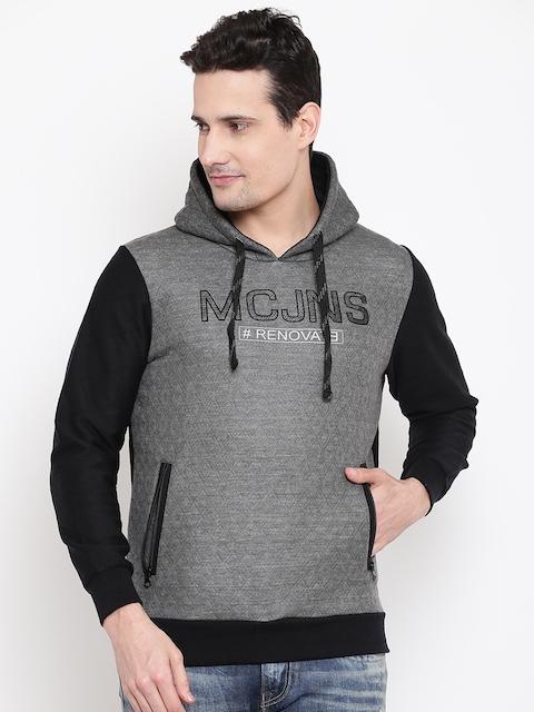 Monte Carlo Men Grey & Black Self-Design Hooded Sweatshirt
