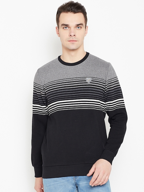Monte Carlo Men Black & Grey Melange Striped Sweatshirt