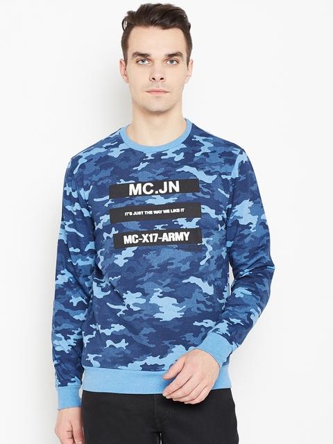 Monte Carlo Men Blue Camouflage Print Sweatshirt