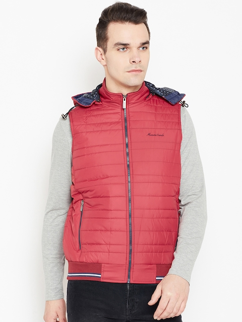 Monte Carlo Men Red Solid Quilted Jacket with Detachable Hood