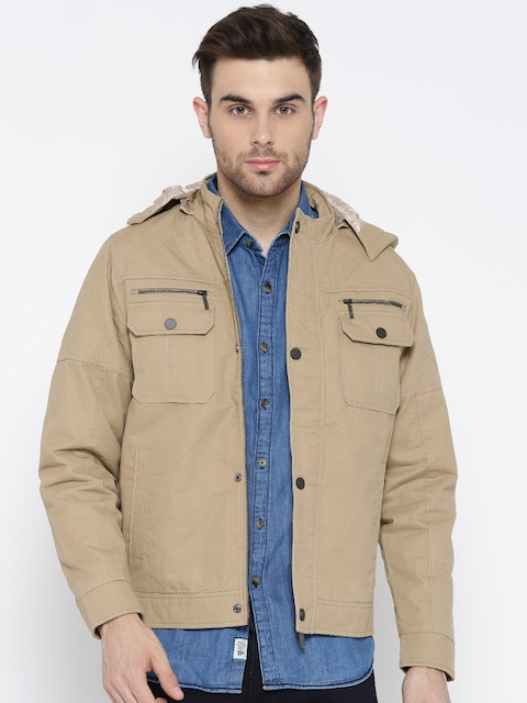 Monte Carlo Men Khaki Solid Tailored Jacket with Detachable Hood