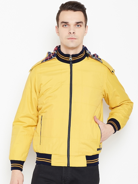 Monte Carlo Men Yellow Solid Bomber Jacket with Detachable Hood