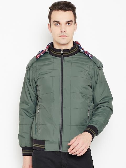 Monte Carlo Men Olive Green Solid Hooded Bomber Jacket