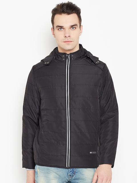 Monte Carlo Men Black Solid Padded Jacket with Detachable Hood