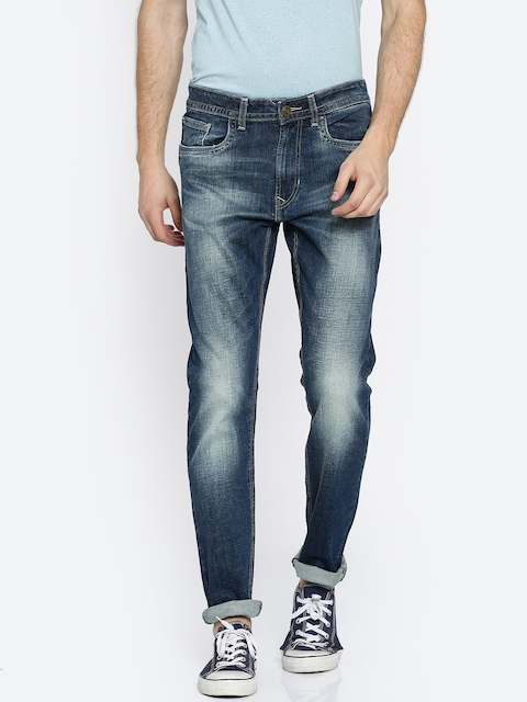 Peter England Casuals Men Blue Tapered Fit Low-Rise Clean Look Stretchable Jeans