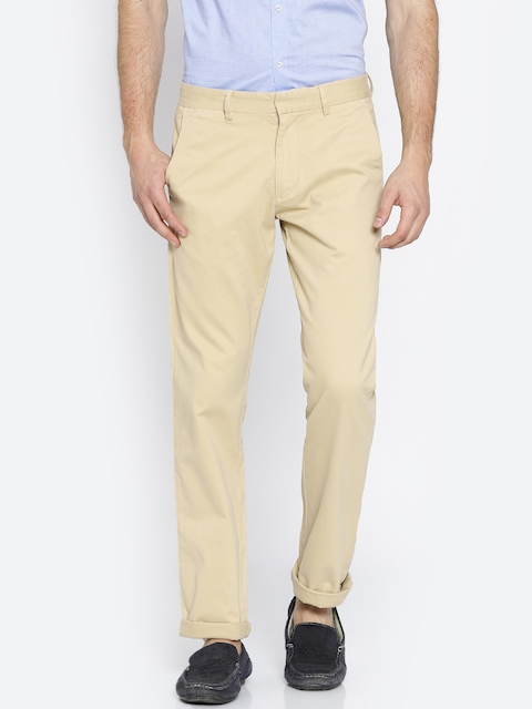 Peter England Casuals Men Beige Slim Fit Solid Chinos