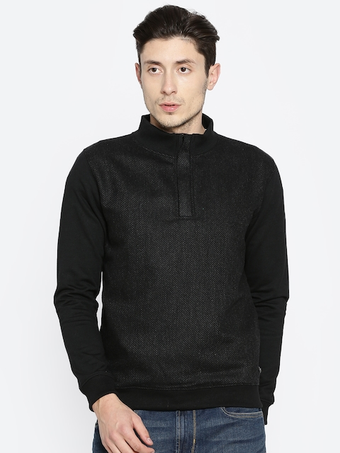 Peter England Casuals Men Black Self Design Sweatshirt