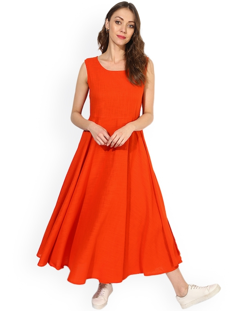 367631738 Sangria Women Orange Printed Anarkali Layered Kurta Dress with Jacket