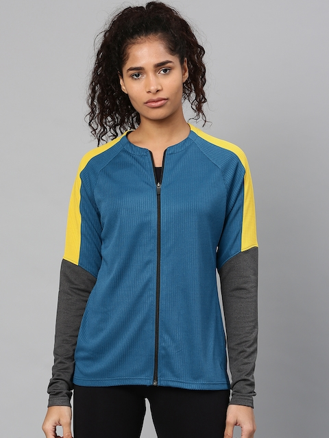 HRX by Hrithik Roshan Women Blue Solid Sporty Jacket