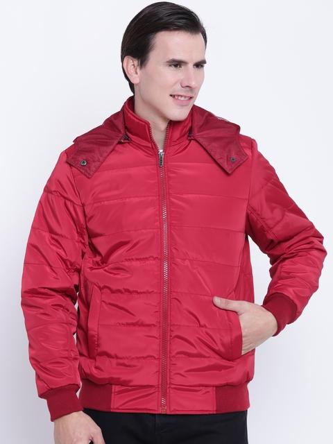 Fort Collins Men Red Solid Hooded Bomber Jacket