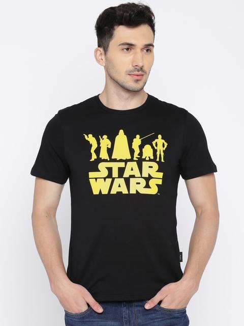 Celio Star Wars Men Black Printed Round Neck T-shirt