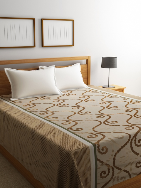 Dreamscape Brown Polycotton Printed Double Bed Cover
