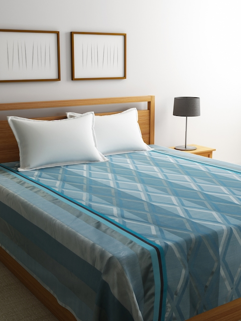 Dreamscape Blue Polycotton Printed Double Bed Cover