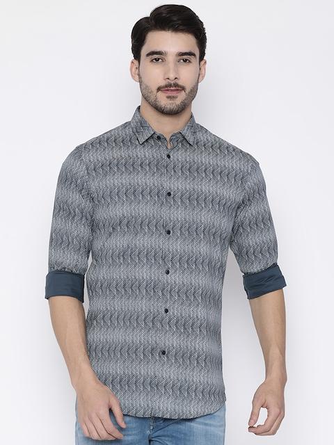 Arrow New York Men Black & Off-White Regular Fit Printed Casual Shirt