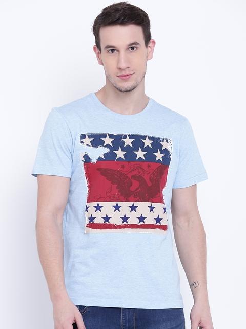 Arrow Blue Jean Co. Men Blue Printed Round Neck T-shirt