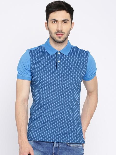 Arrow Men Blue Printed Polo T-shirt
