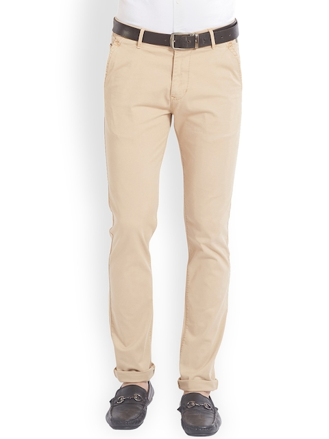 SPYKAR Men Beige Relaxed Slim Fit Solid Regular Trousers