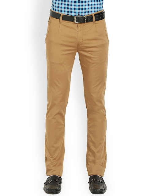 SPYKAR Men Khaki Brown Relaxed Slim Fit Solid Regular Trousers