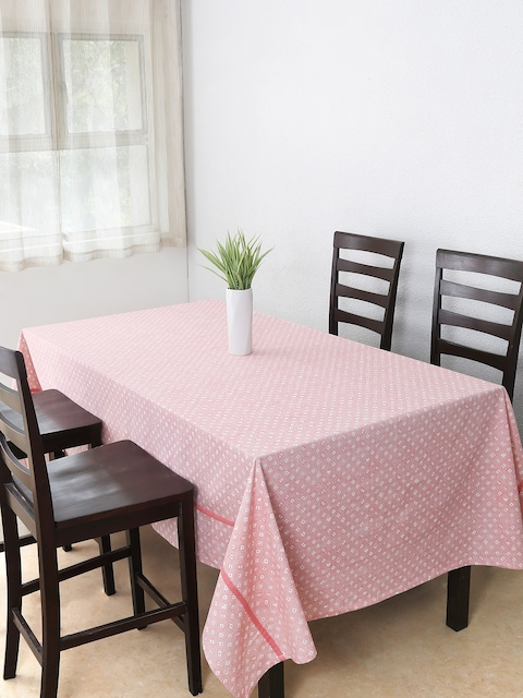 House This Pink Rectangular 60 x 92 Printed Cotton Table Cover