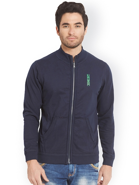 SPYKAR Men Navy Blue Solid Sweatshirt