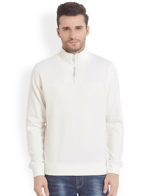 SPYKAR Men White Solid Sweatshirt