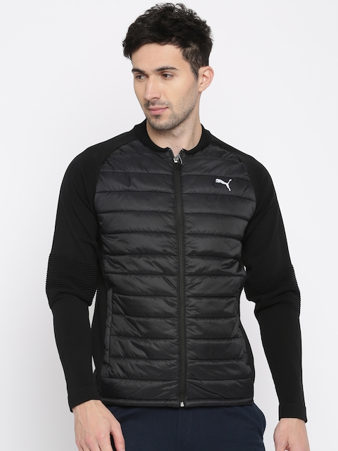 Puma Men Black Solid Reflective Strip Evoknit Padded Jacket