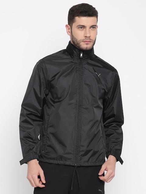 Puma Men Black Solid Hooded Rain Jacket
