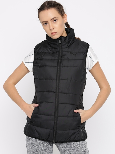 Puma Women Black Solid Padded Jacket