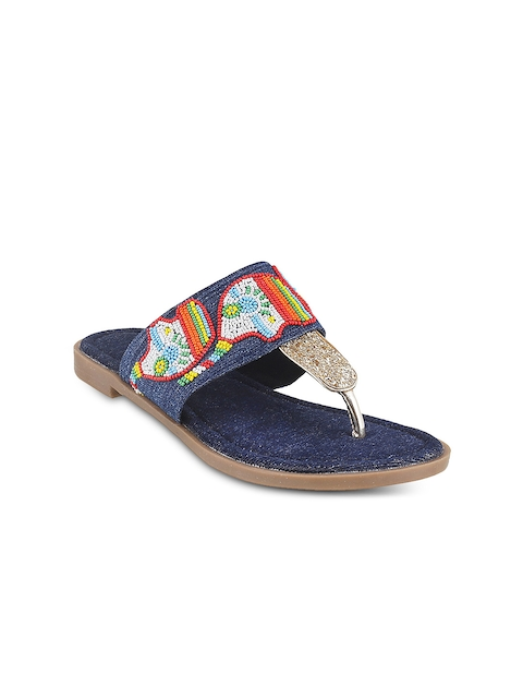 Mochi Women Blue Solid Synthetic One Toe Flats