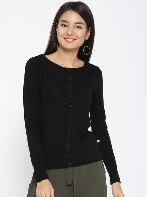 United Colors of Benetton Women Black Woollen Solid Cardigan