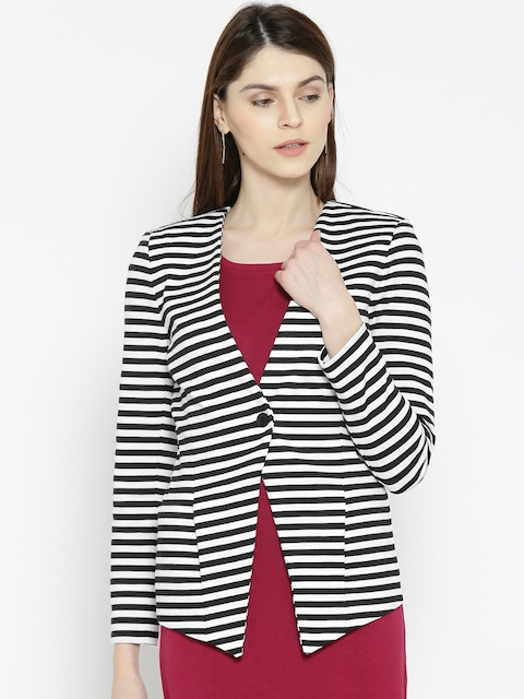 United Colors of Benetton Black & White Striped Single-Breasted Casual Blazer