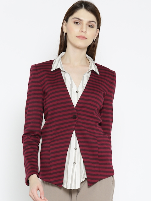 United Colors of Benetton Maroon & Burgundy Striped Single-Breasted Casual Blazer
