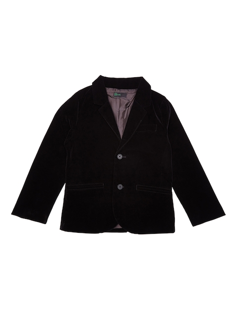 United Colors of Benetton Boys Black Solid Open Front Jacket