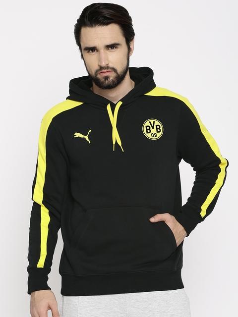 Puma Men Black & Yellow BVB T7 Solid Hooded Sweatshirt