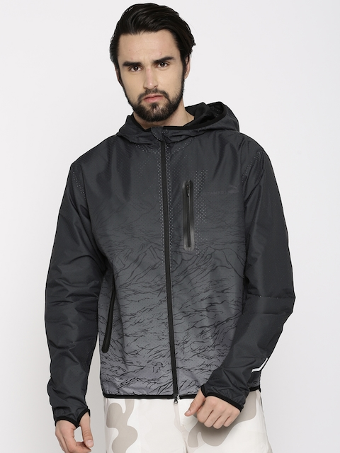 Puma Men Black Stampd Tech Windbreaker Printed Sporty Jacket