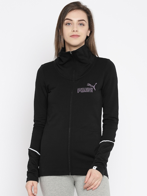 Puma Women Black Solid SWAN FZ Sporty Jacket