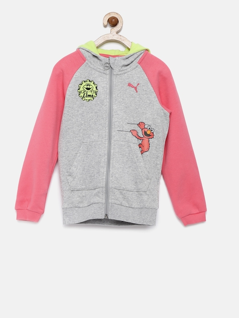Puma Unisex Grey Melange & Pink Hooded Sweatshirt