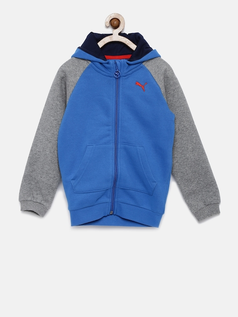 Puma Unisex Blue & Grey Printed Hooded Sweatshirt