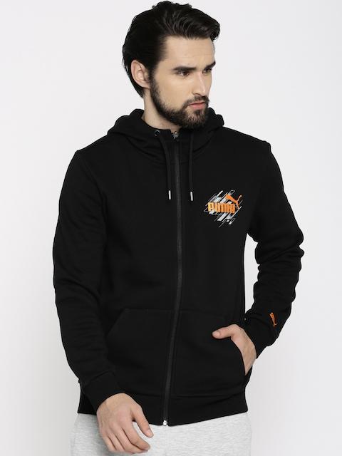 Puma Men Black Solid Hooded Knitted Sweatshirt