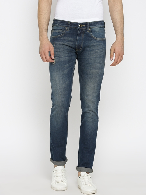 Park Avenue Men Blue Tapered Fit Low-Rise Low Distress Stretchable Jeans